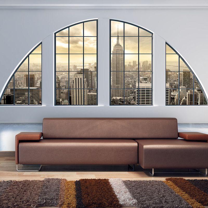 fototapeta okno na nowy jork. Black Bedroom Furniture Sets. Home Design Ideas