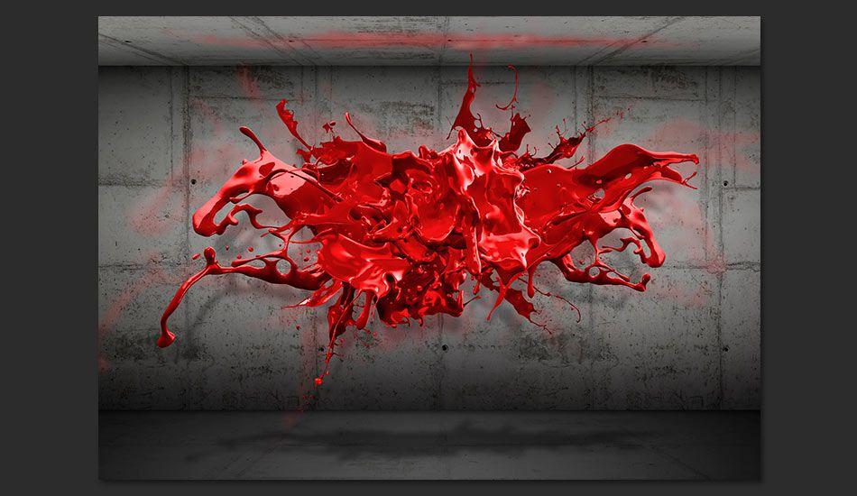 fototapeta 3d czerwony kleks. Black Bedroom Furniture Sets. Home Design Ideas