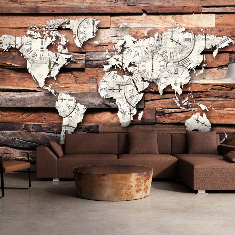 fototapeta 3d mapa wiata na drewnie. Black Bedroom Furniture Sets. Home Design Ideas