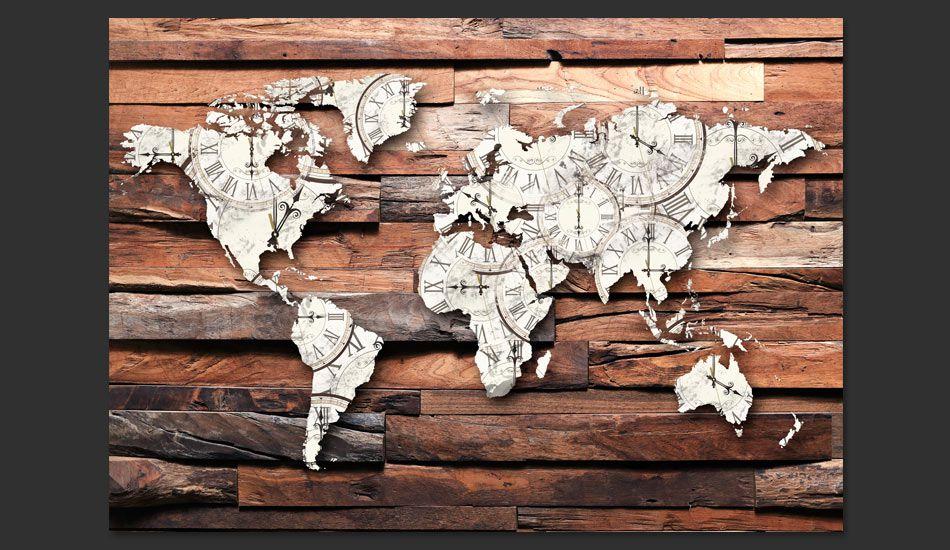 Ogromny Fototapeta 3D - Mapa Świata na drewnie YD43