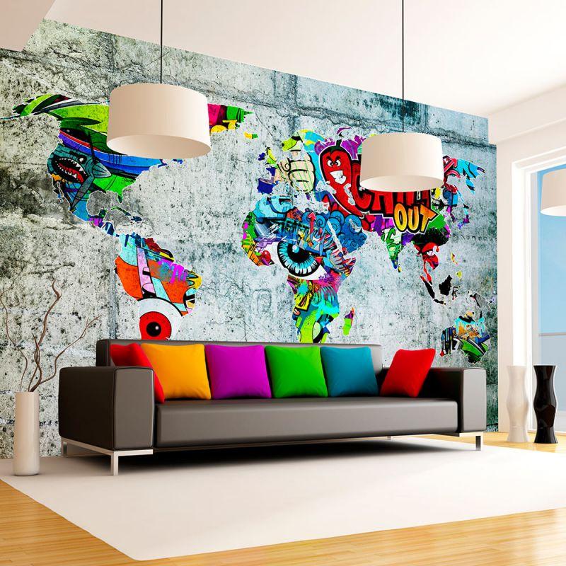 Fototapeta mapa graffiti for Fototapete jugendzimmer jungen
