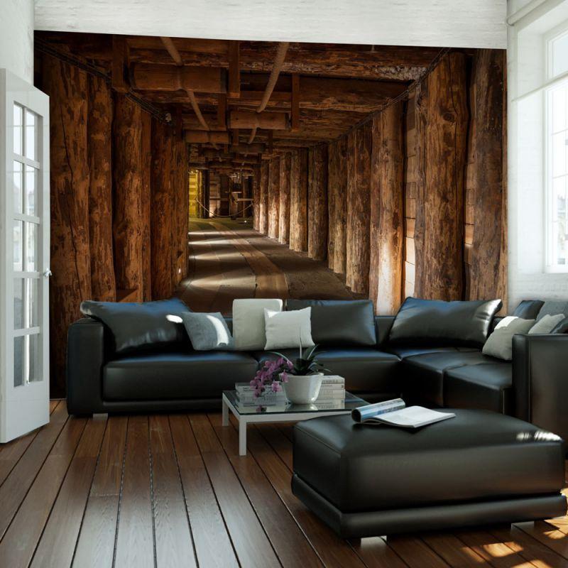 Fototapeta 3d drewniany tunel for Carta parati in 3d