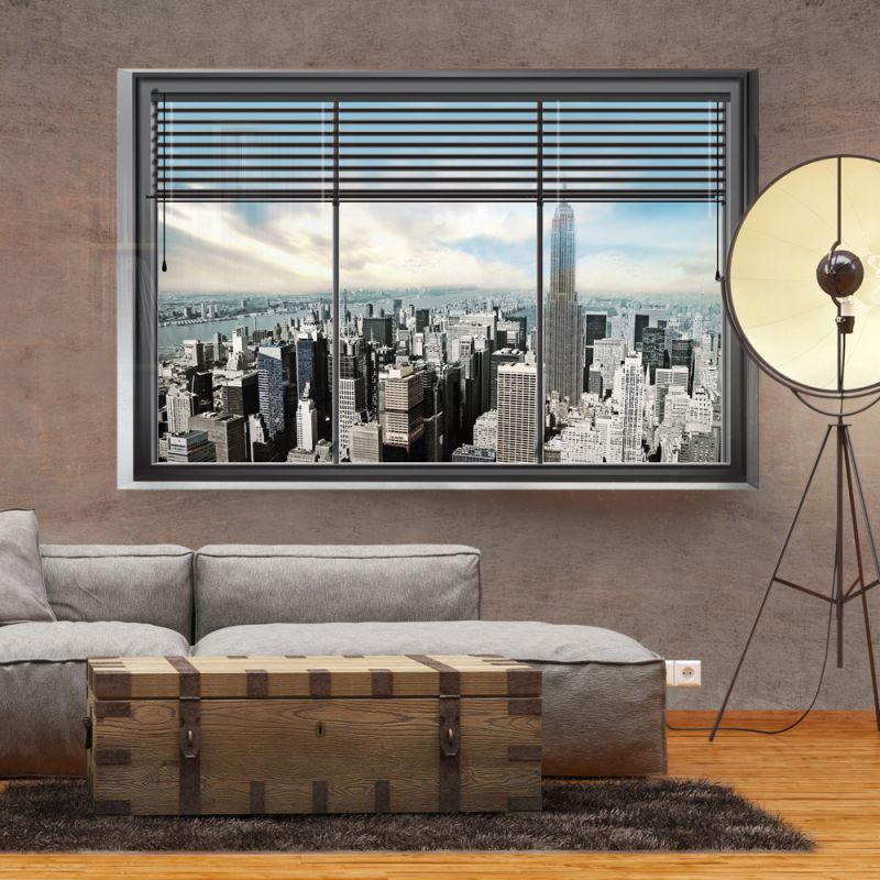 fototapeta 3d nowojorskie okno. Black Bedroom Furniture Sets. Home Design Ideas