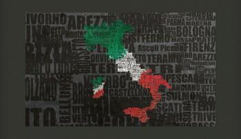 Fototapeta - Text map of Italy
